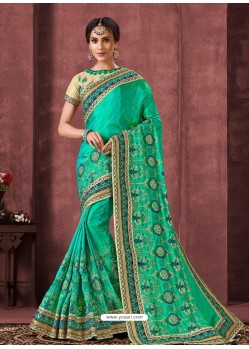 Jade Green Designer Party Wear Embroidered Poly Silk Sari