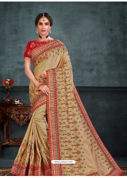 Beige Designer Party Wear Embroidered Poly Silk Sari
