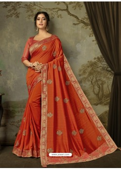 Rust Latest Designer Party Wear Embroidered Poly Silk Sari