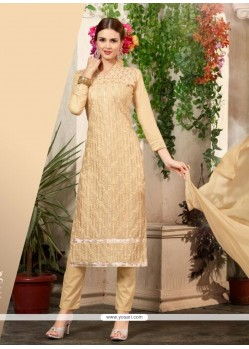 Talismanic Cream Cotton Churidar Salwar Suit
