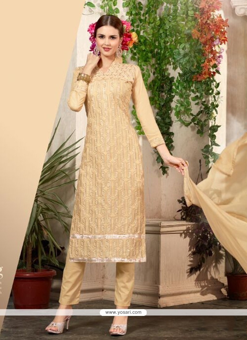 Talismanic Cream Cotton Churidar Salwar Suit