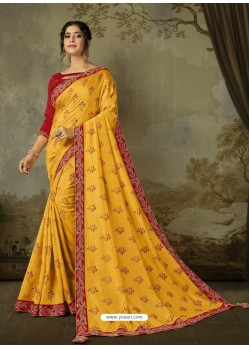 Yellow Latest Designer Party Wear Embroidered Poly Silk Sari