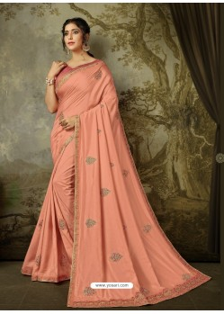 Peach Latest Designer Party Wear Embroidered Poly Silk Sari