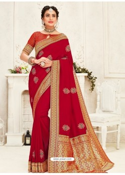 Red Latest Designer Party Wear Embroidered Poly Silk Sari