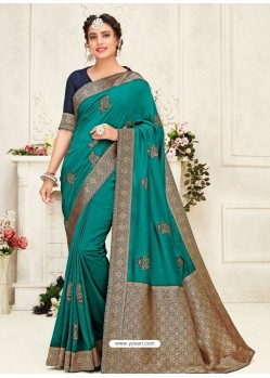 Turquoise Latest Designer Party Wear Embroidered Poly Silk Sari