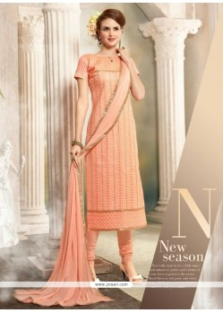 Fascinating Resham Work Peach Churidar Designer Suit