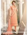 Fascinating Resham Work Peach Churidar Designer Suit