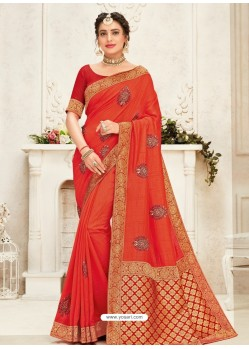Orange Latest Designer Party Wear Embroidered Poly Silk Sari