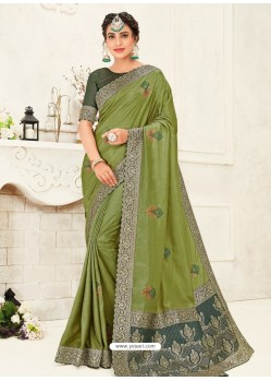 Green Latest Designer Party Wear Embroidered Poly Silk Sari