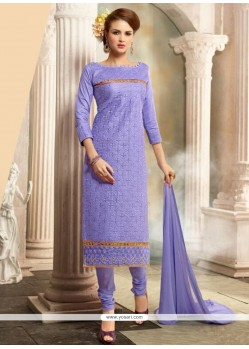 Aristocratic Lavender Resham Work Cotton Churidar Salwar Kameez