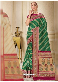 Dark Green Designer Traditional Wear Silk Wedding Sari