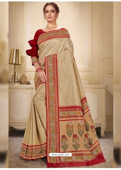 Light Beige Designer Traditional Wear Silk Wedding Sari