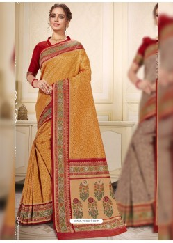 Orange Designer Traditional Wear Silk Wedding Sari