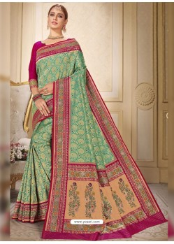 Sea Green Designer Traditional Wear Silk Wedding Sari