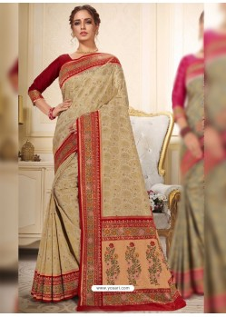 Beige Designer Traditional Wear Silk Wedding Sari