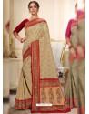 Beige Designer Traditional Wear Silk Wedding Sari