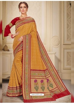 Mustard Designer Traditional Wear Silk Wedding Sari