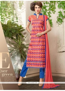 Riveting Resham Work Cotton Churidar Suit