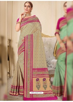 Taupe Designer Traditional Wear Silk Wedding Sari