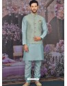 Sky Blue Readymade Designer Kurta Pajama With Jacket For Men