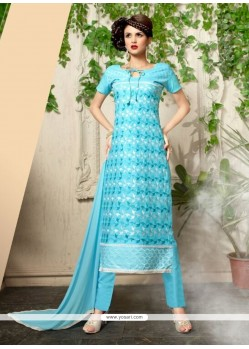 Exuberant Embroidered Work Turquoise Cotton Churidar Salwar Suit