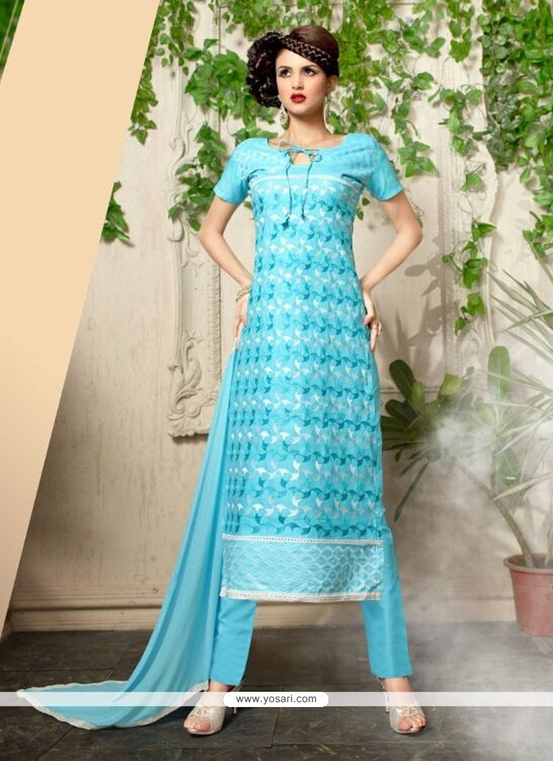 Exuberant Embroidered Work Turquoise Cotton Churidar Salwar Suit