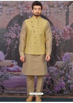Gold Readymade Designer Kurta Pajama With Jacket For Men