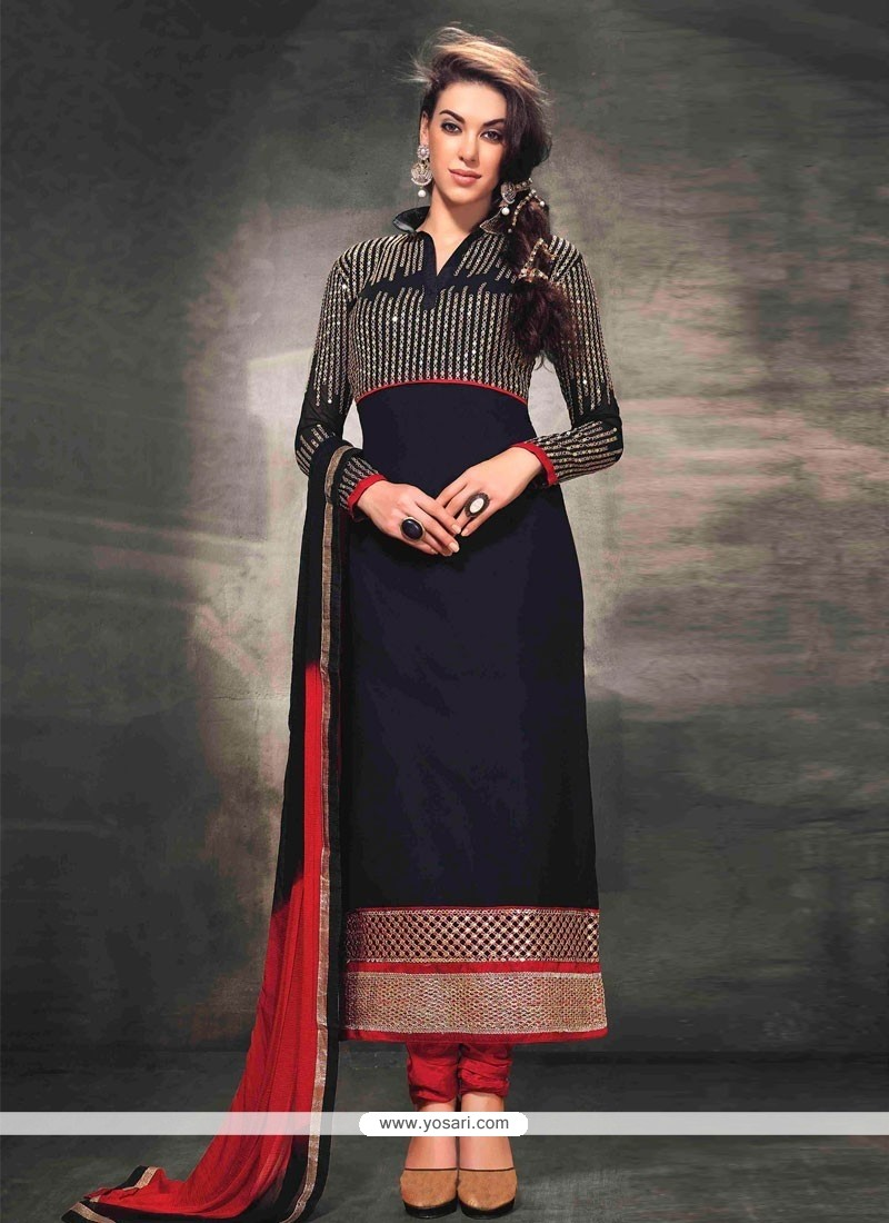 Markable Black Georgette Resham Churidar Suit