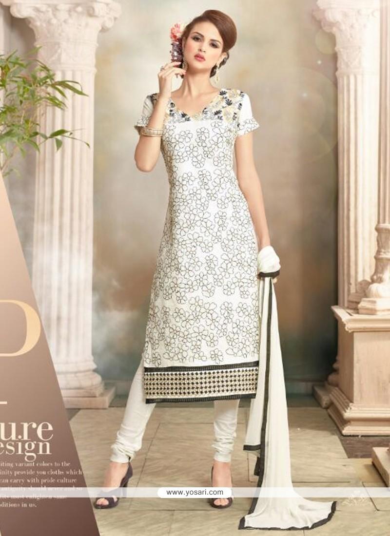 Fashionable Resham Work Cotton Churidar Salwar Kameez