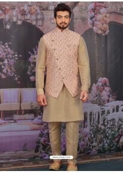 Camel Readymade Designer Kurta Pajama With Jacket For Men