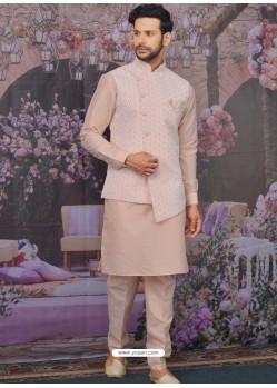 Baby Pink Readymade Designer Kurta Pajama With Jacket For Men