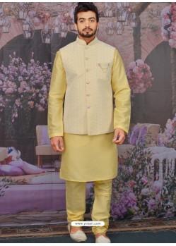 Light Yellow Readymade Designer Kurta Pajama With Jacket For Men
