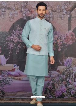Sky Blue Readymade Designer Kurta Pajama With Jacket For Men
