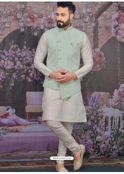 Off White Readymade Designer Kurta Pajama With Jacket For Men