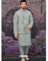 Grayish Green Readymade Designer Kurta Pajama With Jacket For Men