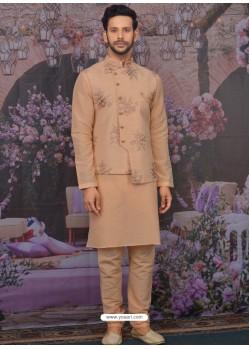 Light Orange Readymade Designer Kurta Pajama With Jacket For Men