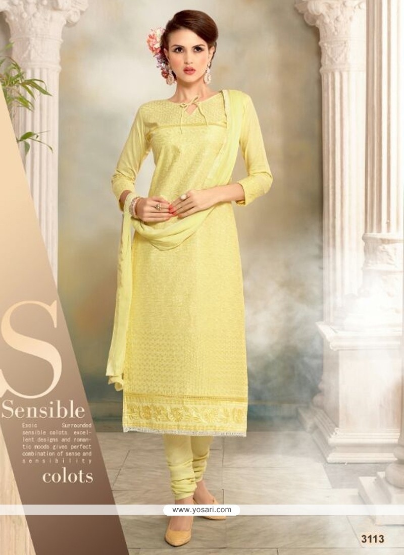 Pleasance Resham Work Cotton Churidar Designer Suit