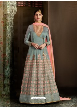Grey Latest Heavy Designer Party Wear Anarkali Suit