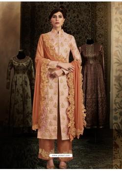 Light Orange Latest Heavy Designer Party Wear Straight Salwar Suit
