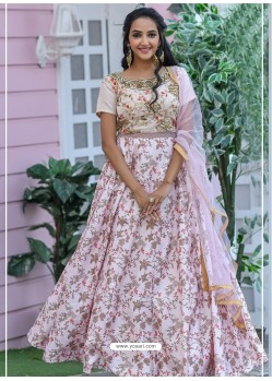Baby Pink Heavy Embroidered Designer Party Wear Gown Style Anarkali Suit