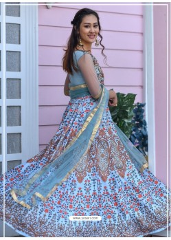 Blue Heavy Embroidered Designer Party Wear Gown Style Anarkali Suit