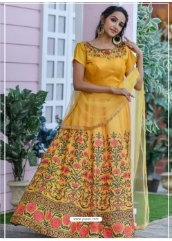 Yellow Heavy Embroidered Designer Party Wear Gown Style Anarkali Suit
