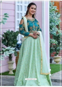 Sea Green Heavy Embroidered Designer Party Wear Gown Style Anarkali Suit