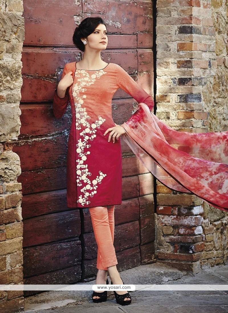 Delightsome Cotton Red Resham Work Designer Salwar Suit