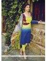 Excellent Resham Work Blue And Yellow Jacquard Salwar Suit