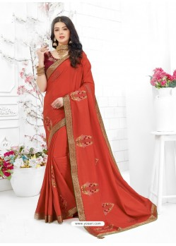 Rust Designer Embroidered Vichitra Silk Party Wear Sari