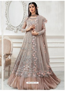 Light Brown Heavy Designer Embroidered Party Wear Gown Style Anarkali Suit