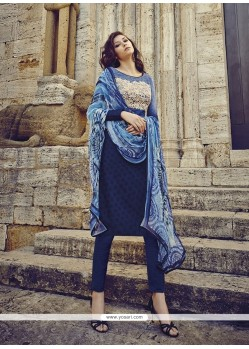 Radiant Cotton Blue Designer Salwar Suit