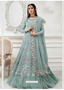 Aqua Grey Heavy Designer Embroidered Party Wear Gown Style Anarkali Suit