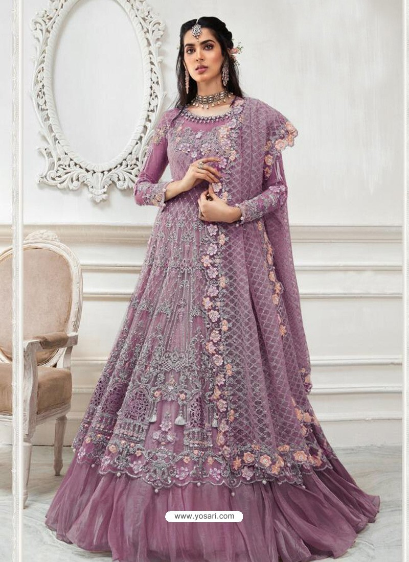 Lavender Heavy Designer Embroidered Party Wear Gown Style Anarkali Suit